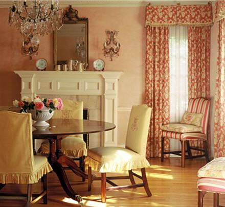 Peach dining room interior - Peach color interior design ...