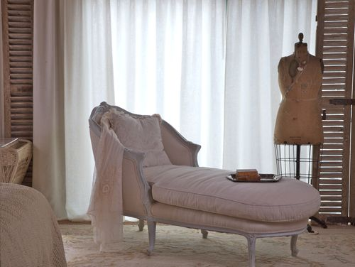 Romantic chaises   Velvet   Linen We sell this chaise at our shop  I love the rustic burlap fabric combined  with the more refined linen  The wood has a wonderful gray patina . Bedroom Chaise. Home Design Ideas