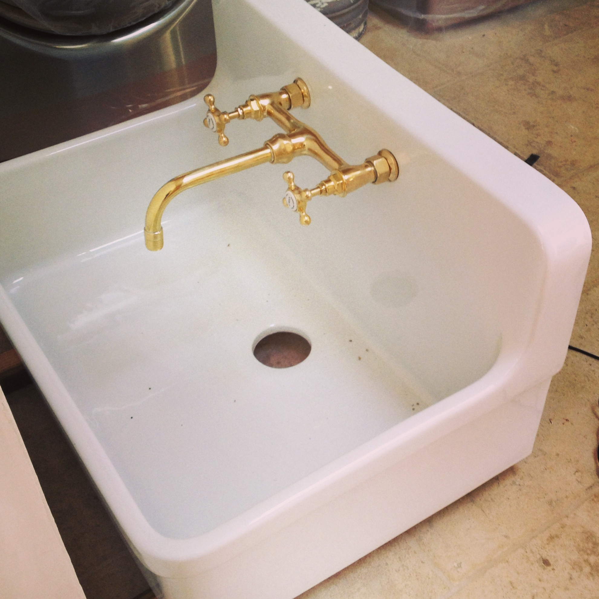 patina farm update un lacquered brass plumbing fixtures and the view from the pond 1 unlacquered brass kitchen faucet IMG