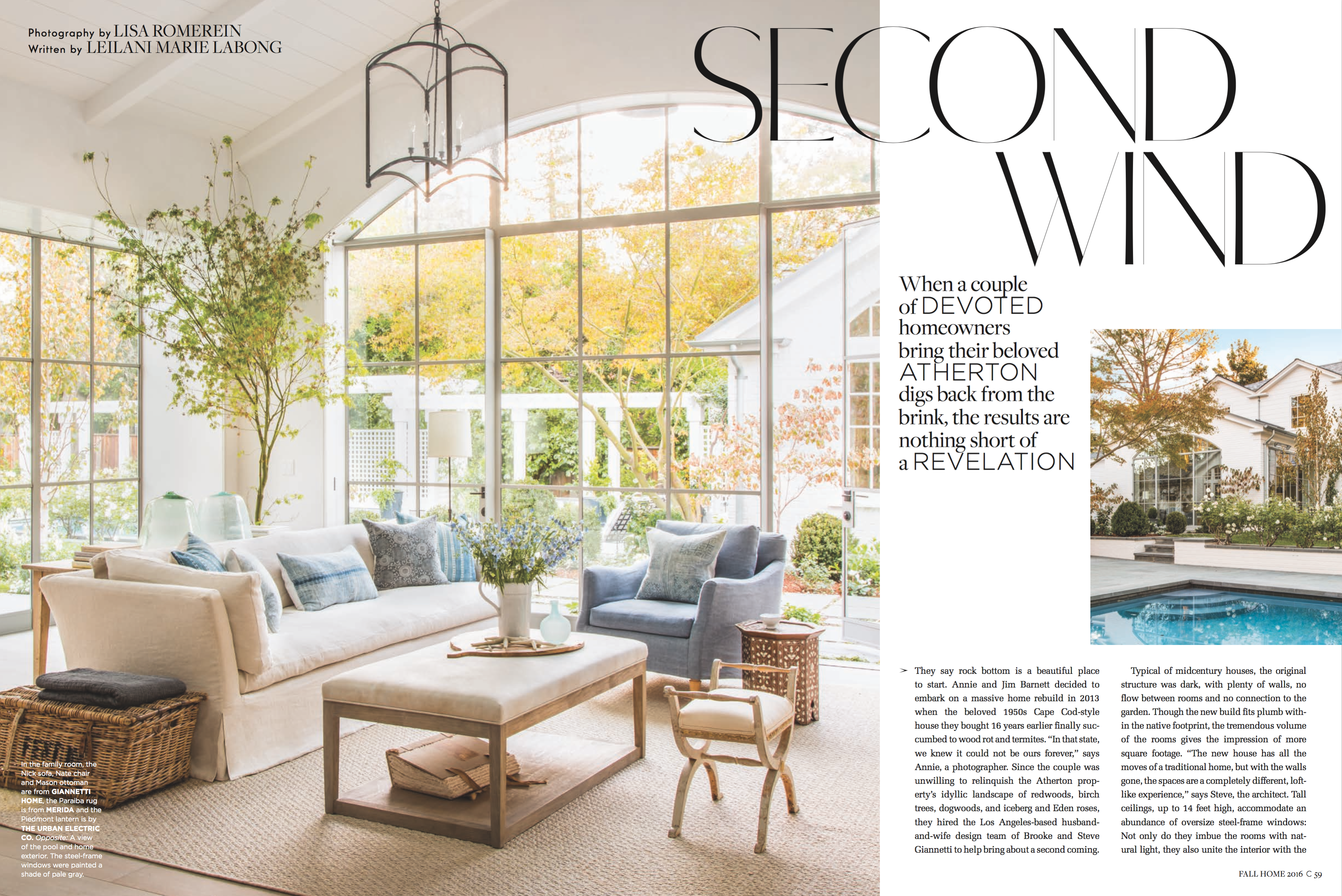 Our Clients\' Atherton, Ca home in C Home Magazine! - Velvet & Linen
